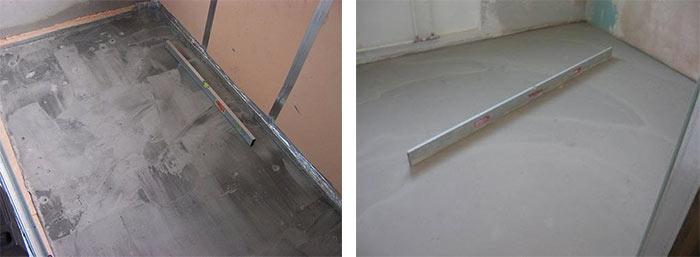 Чистка бетонного основания перед укладкой лаг