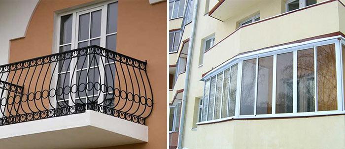 Открытый и закрытый балкон