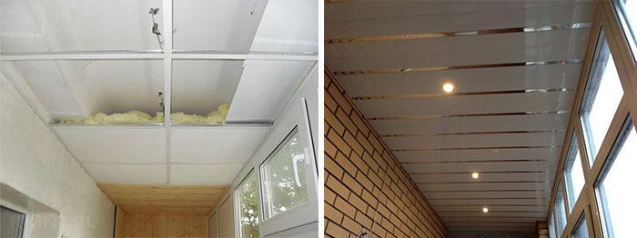 Наборные плитки для потолка на балконе