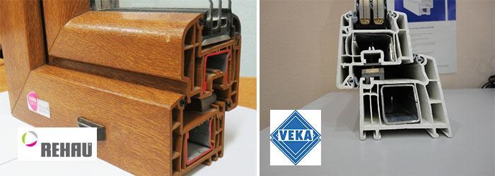 Модели Veka и Rehau в сечении